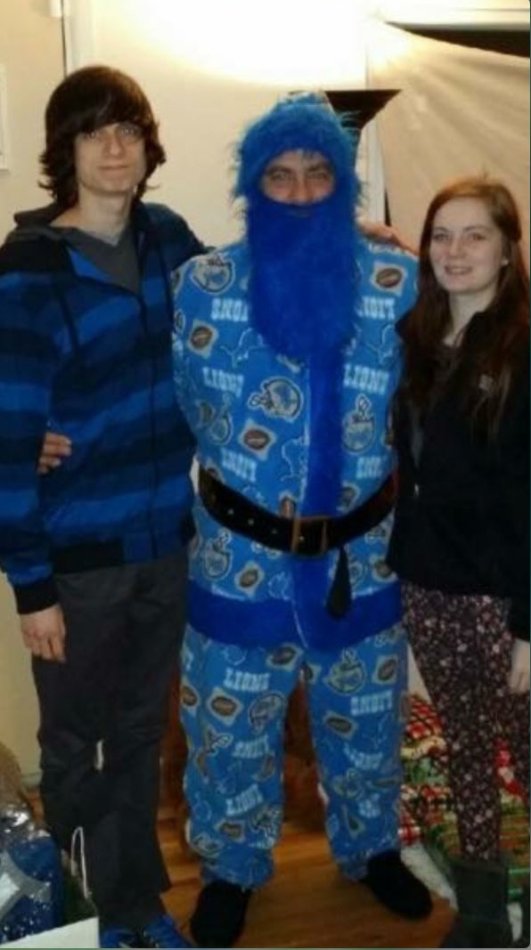 Wallside's Tom Kearns dresses as Santa - Detroit Lions style.
