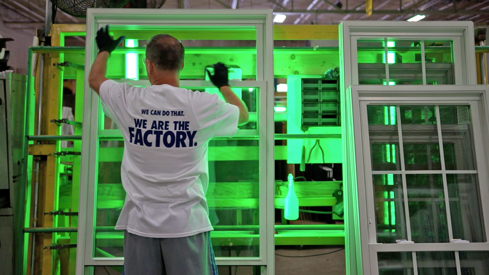 The green lights in our factory reveals flaws better than white light or even natural sunlight would.
