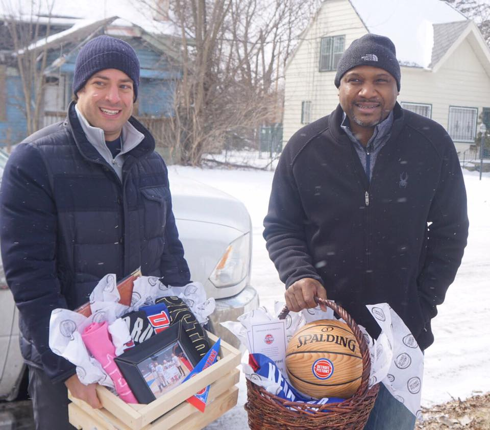 Wallside Windows' Adam Blanck and NBA Legend Lindsey Hunter surprised a family in Flint with new windows and much more on March 5 as part of the Gift of Warmth. | Photo courtesy of The Detroit Pistons Facebook page