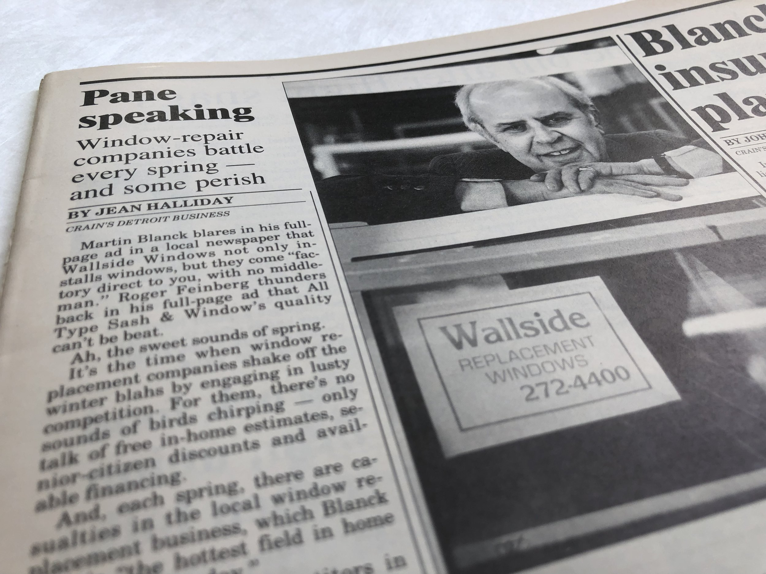 Wallside Windows Founder Martin Blanck made news with vinyl windows. Here, he appears in a 1987 edition of Crain's Detroit Business.