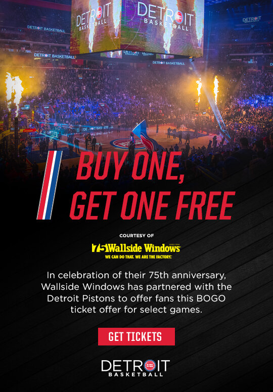 Get discounted tickets to see the Detroit Pistons play this season, courtesy of Wallside Windows.