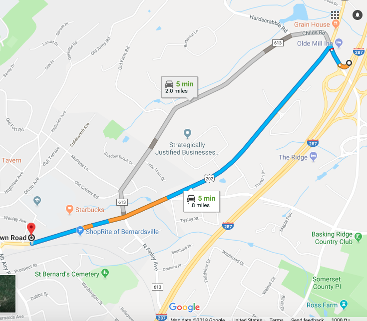 We are located approximately 2 miles from Exit 30B off of I-287 (click image to view in Google Maps)