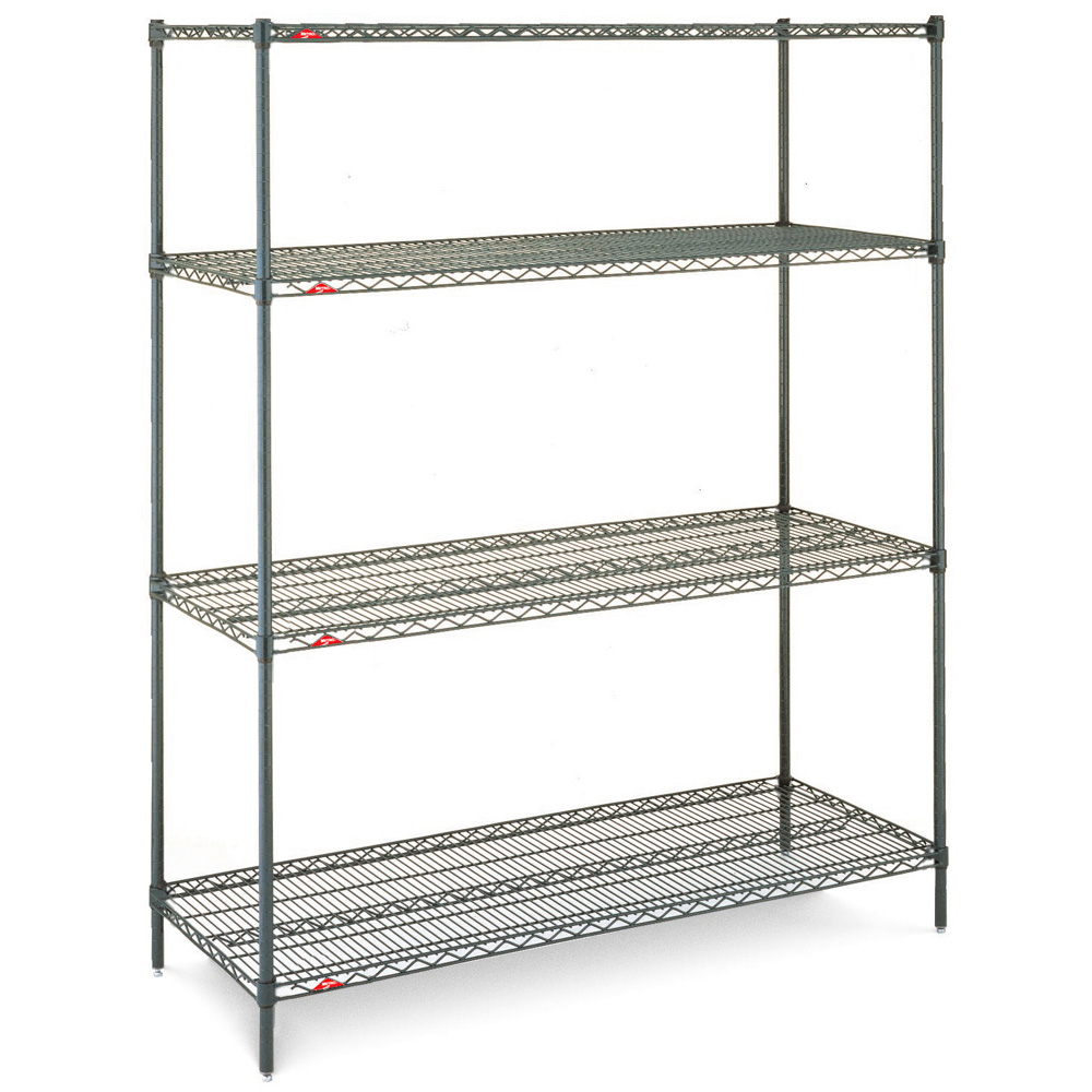 "Super Erecta® - Since 1965, the original post-based adjustable shelving system has been copied, but never duplicated.Features:• Holds up to 800 lbs per shelf evenly distributed (up to 48"" wide)• Adjusts on 1"" increments• Easily configurable for mobile or stationary• Super Adjustable Super Erecta® shelving allows shelves to be easily adjusted in 1"" increments• Available in different finishes: chrome, 304 stainless steel, green epoxy and BRITE, which is a more economical option"