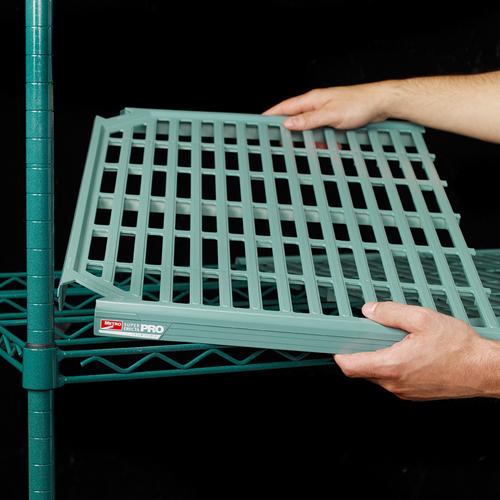 "Super Erecta Pro™ - Super Erecta Pro is compatible with the Super Erecta family of shelves on the same unit – traditional wire, Super Adjustable, Solid Shelves, an Dunnage Shelves. Proven Super Erecta performance combined with removable polymer shelf mats offers a justifiable upgrade to traditional wire shelving.• Microban® Antimicrobial Product Protection is built into every shelf mat and the Metroseal 3 epoxy finish – A Metro exclusive.• Lift-off, sectioned polymer shelf mats can be easily washed by hand or in a dish machine.• Robust truss design offers up to 800lbs capacity per shelf, up to 48""• Interchangeable – Shelves can be configured on the same units with traditional Super Erecta wire, solid, and dunnage shelves for maximum flexibility.• Standard 1"" (25mm) adjustment promotes effective use of space.• Sturdy shelves are designed to function in stationary, mobile, track systems, and wall mount configurations."