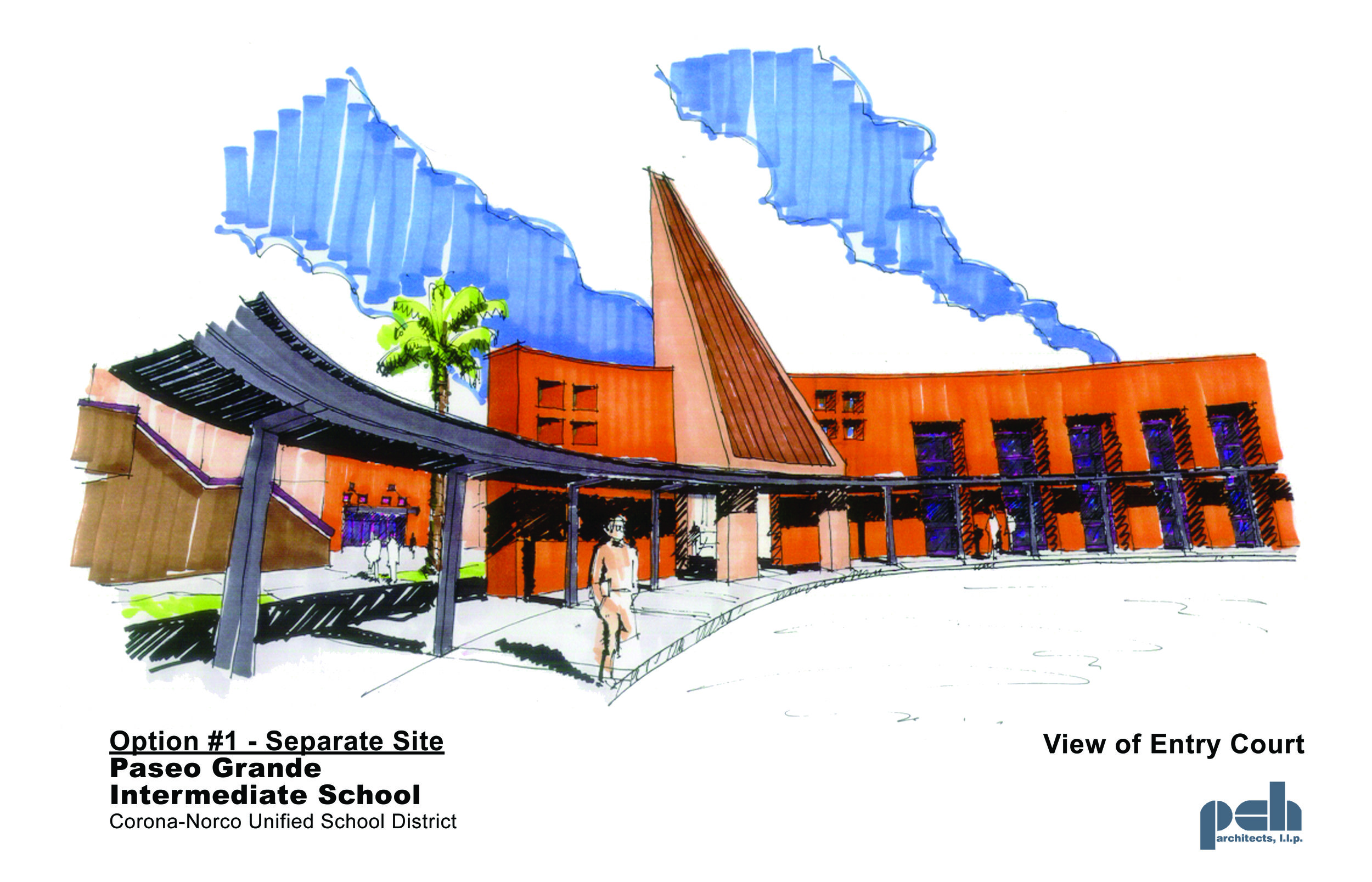 Rendering of an entry court for a local school, by PCH Architects
