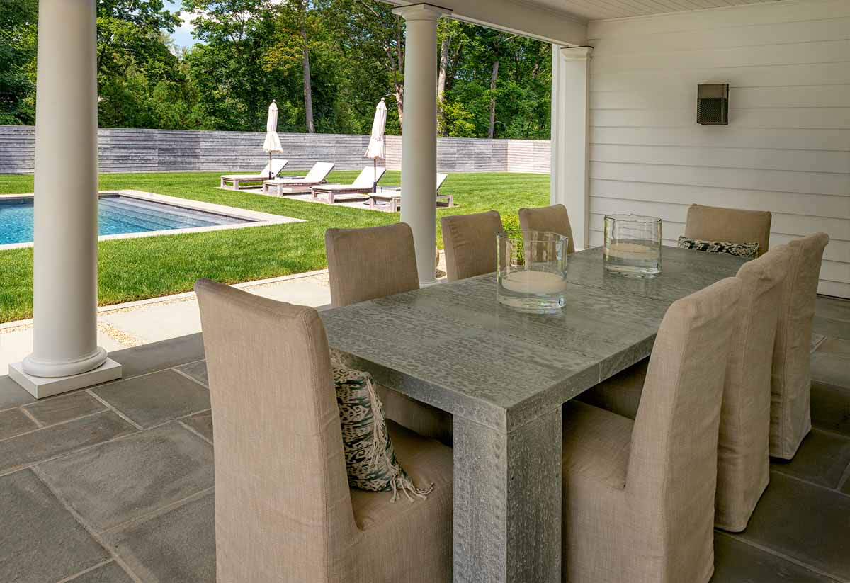 CUSTOM ALL WEATHER ZINC EXTERIOR TABLE, BURLAP CHAIRS