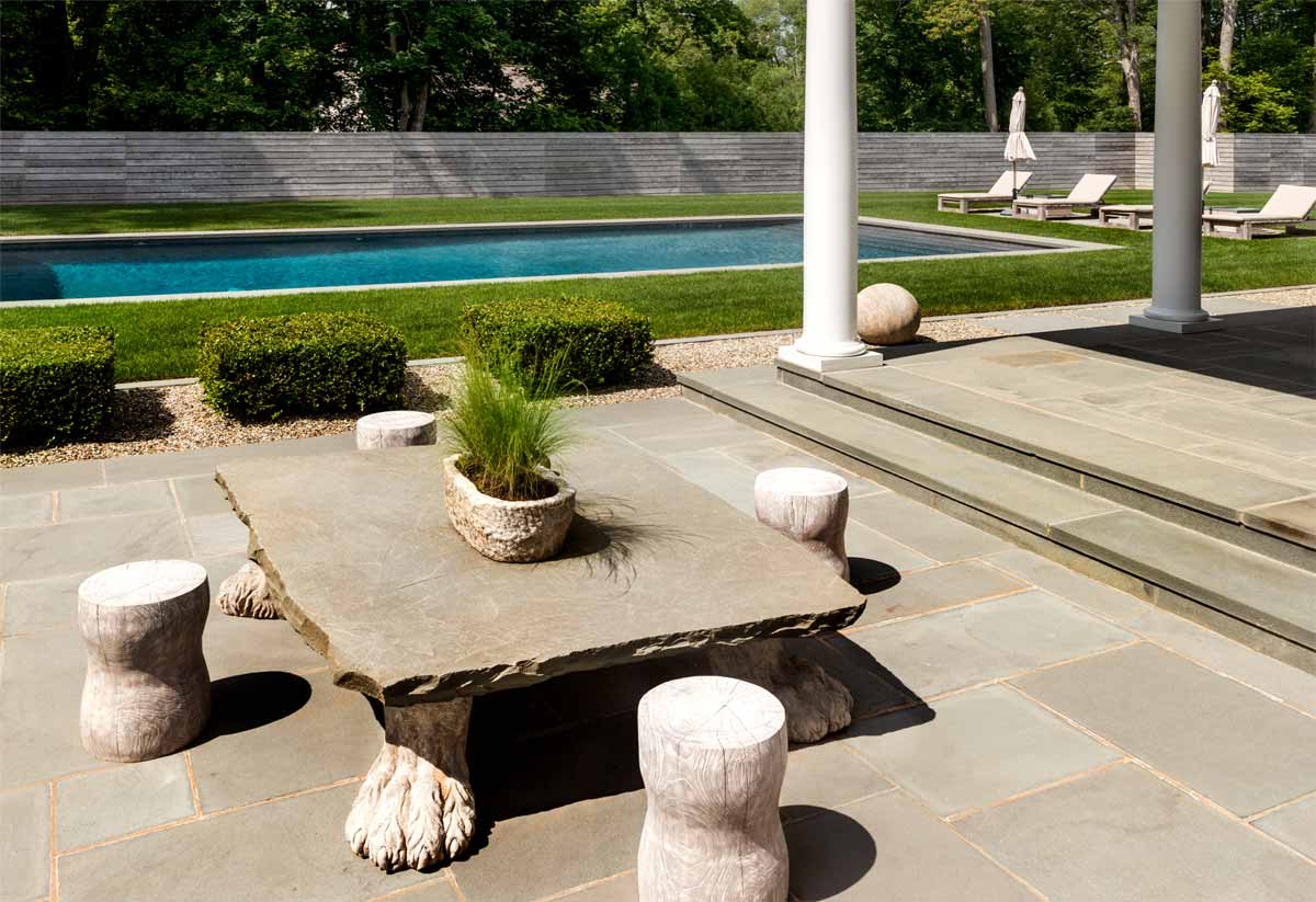 CUSTOM GRANITE AND STONE 'BEAST' TABLE    |     POOL, TERRACE, DECK, GARDEN HARDSCAPING