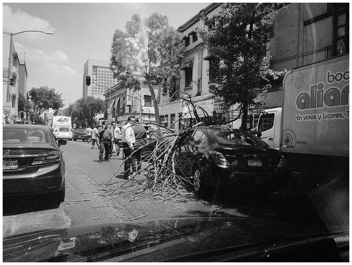 The journey home was filled with damaged cars, bewildered people and compromised buildings.