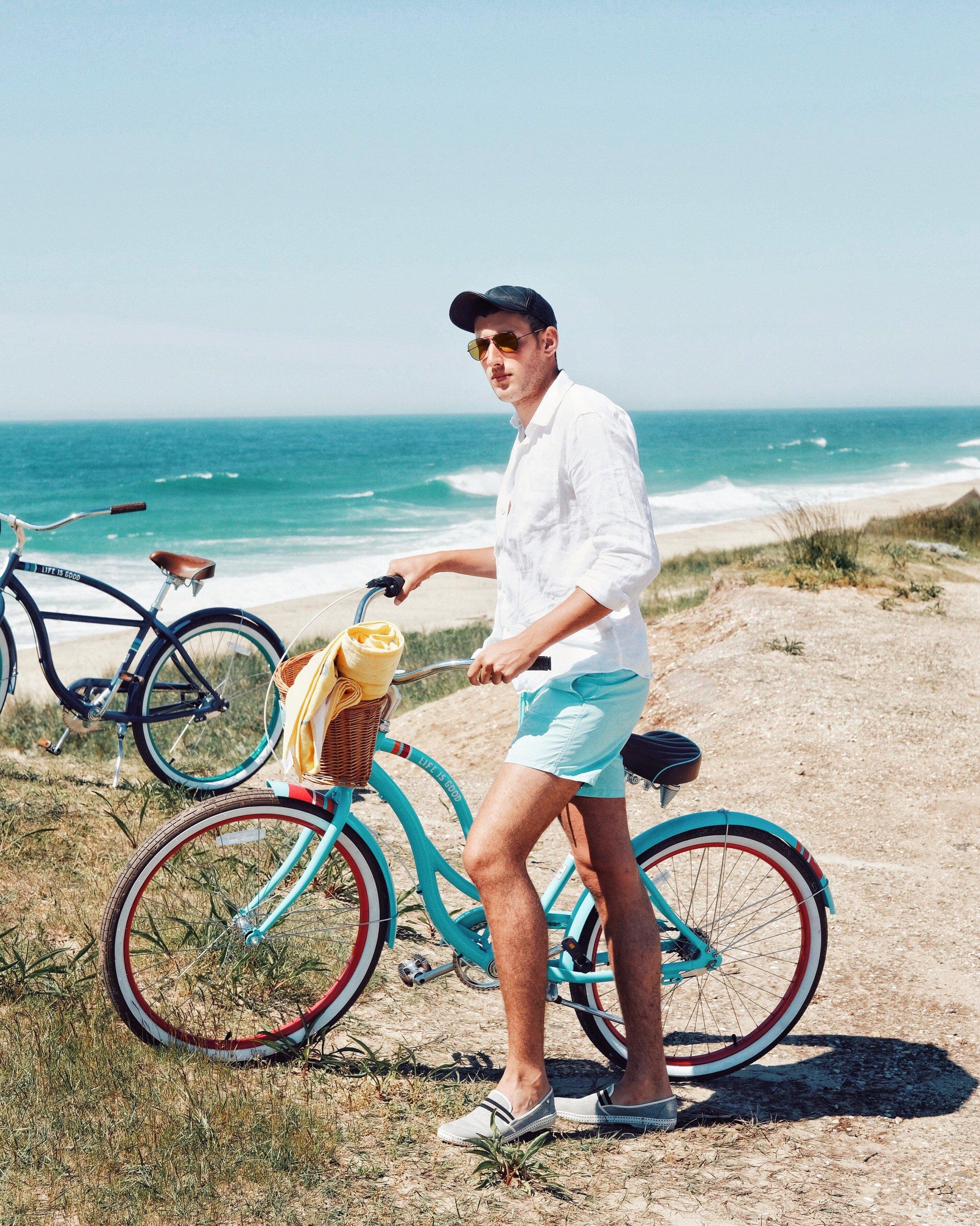 Biking to the beach - Wearing all Vilebrequin