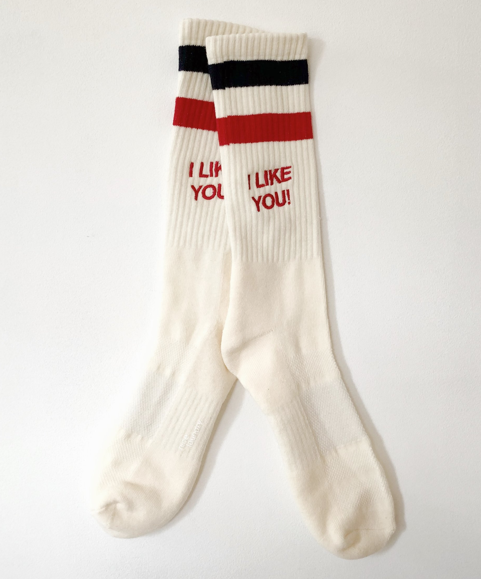 """$20 - Isaac Likes """"I Like You!"""" socks   These socks are so fun and the colors on on point! A fun way to add a little something to your outfit! Plus I love Isaac!"""
