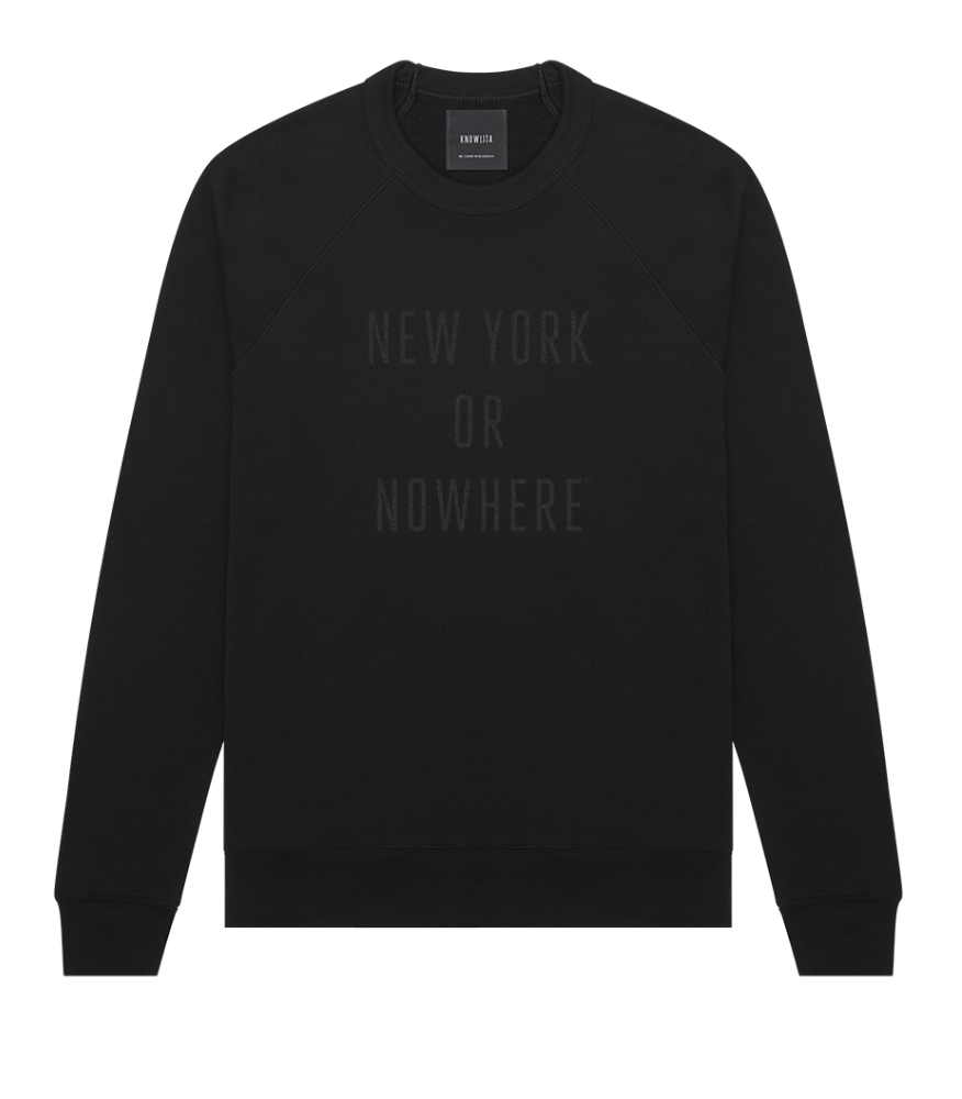$95 - Knowlita   NEW YORK OR NOWHERE® crew   I love the black on black words on this sweatshirt. It's a statement piece without being too much of a statement.