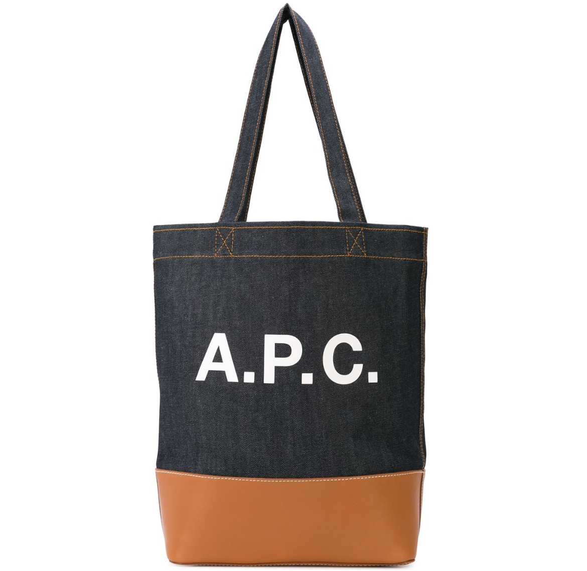 $325 - APC denim tote   STOP using plastic bags when you grocery shop!! It's 2018. Use this instead!! I'm so in love with this A.P.C denim and leather tote. A perfect addition to any outfit!