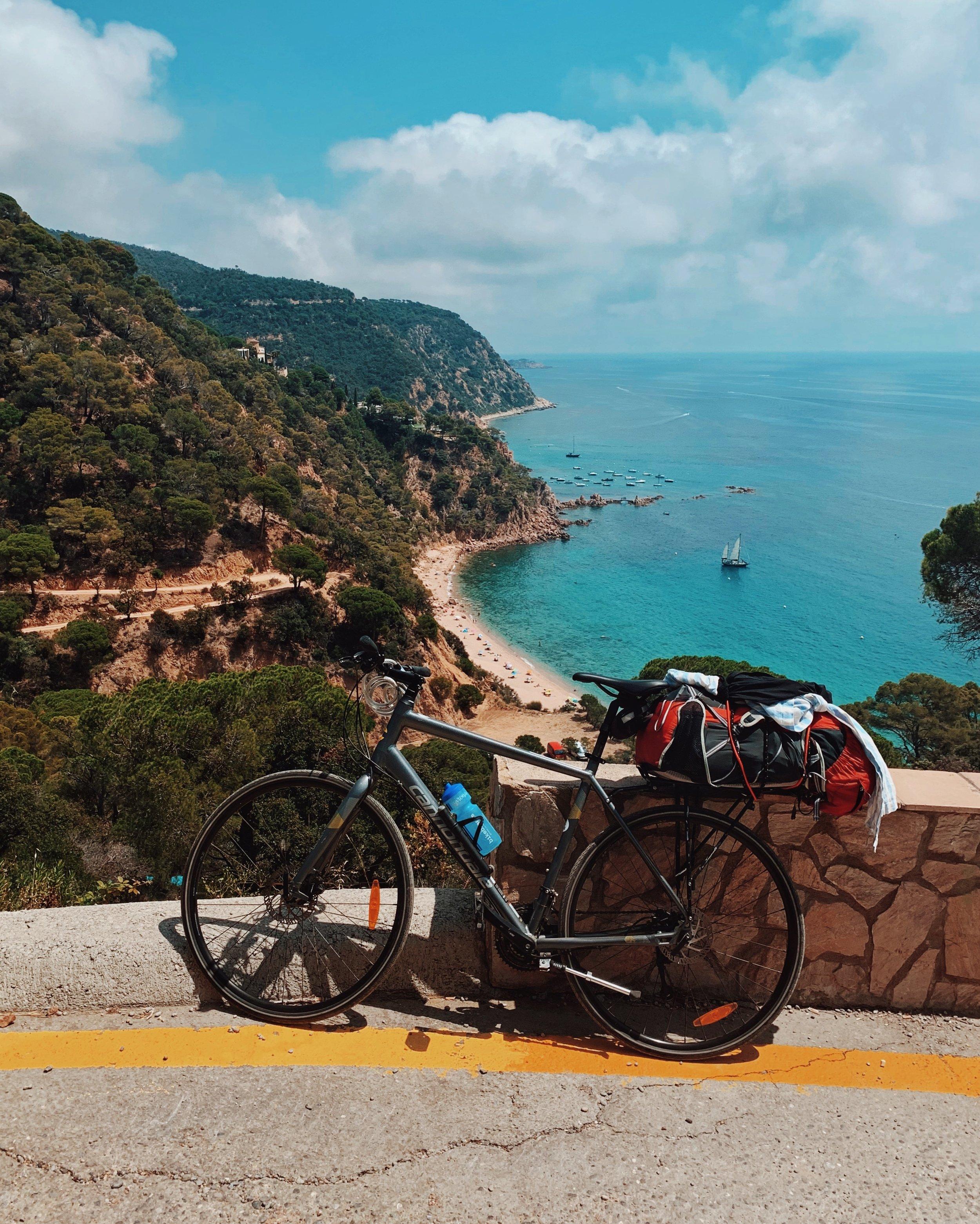My bike setup above Cala del Senyor Ramon in between Tossa de Mar and Llafranc