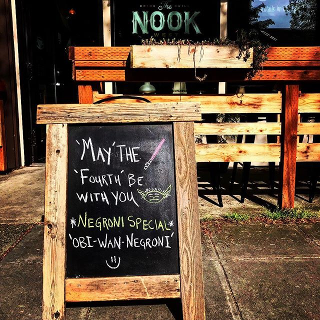 May the Fourth, be with you. Come get a Negroni! 'Obi-Wan-Negroni' ;) . #maythefourth #starwars #negroni #yoda #thenook #thenookseattle #saturday #patio #hideyourkidshideyourwife