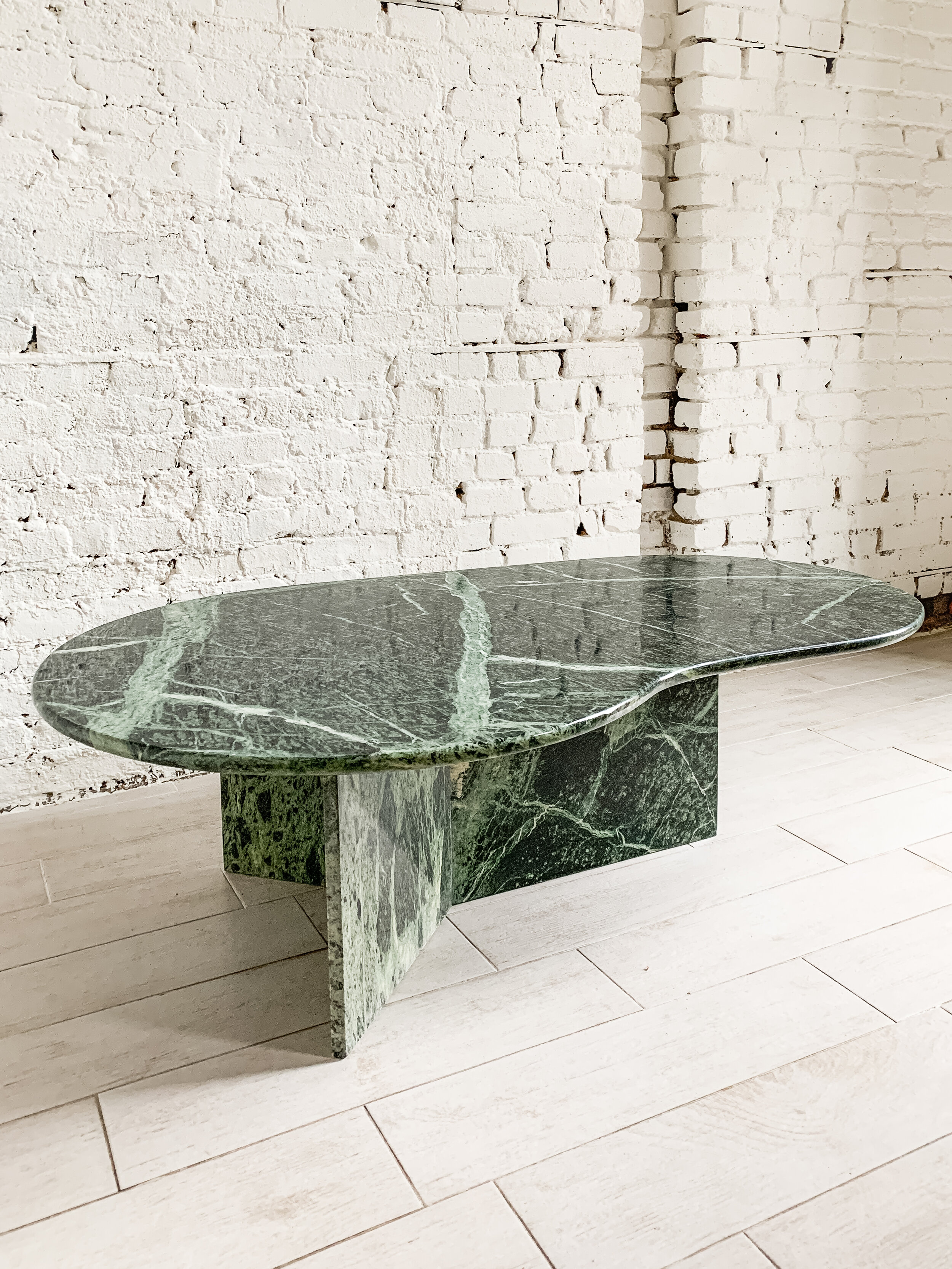 Italian Green Marble Amoeba Coffee Table Angl