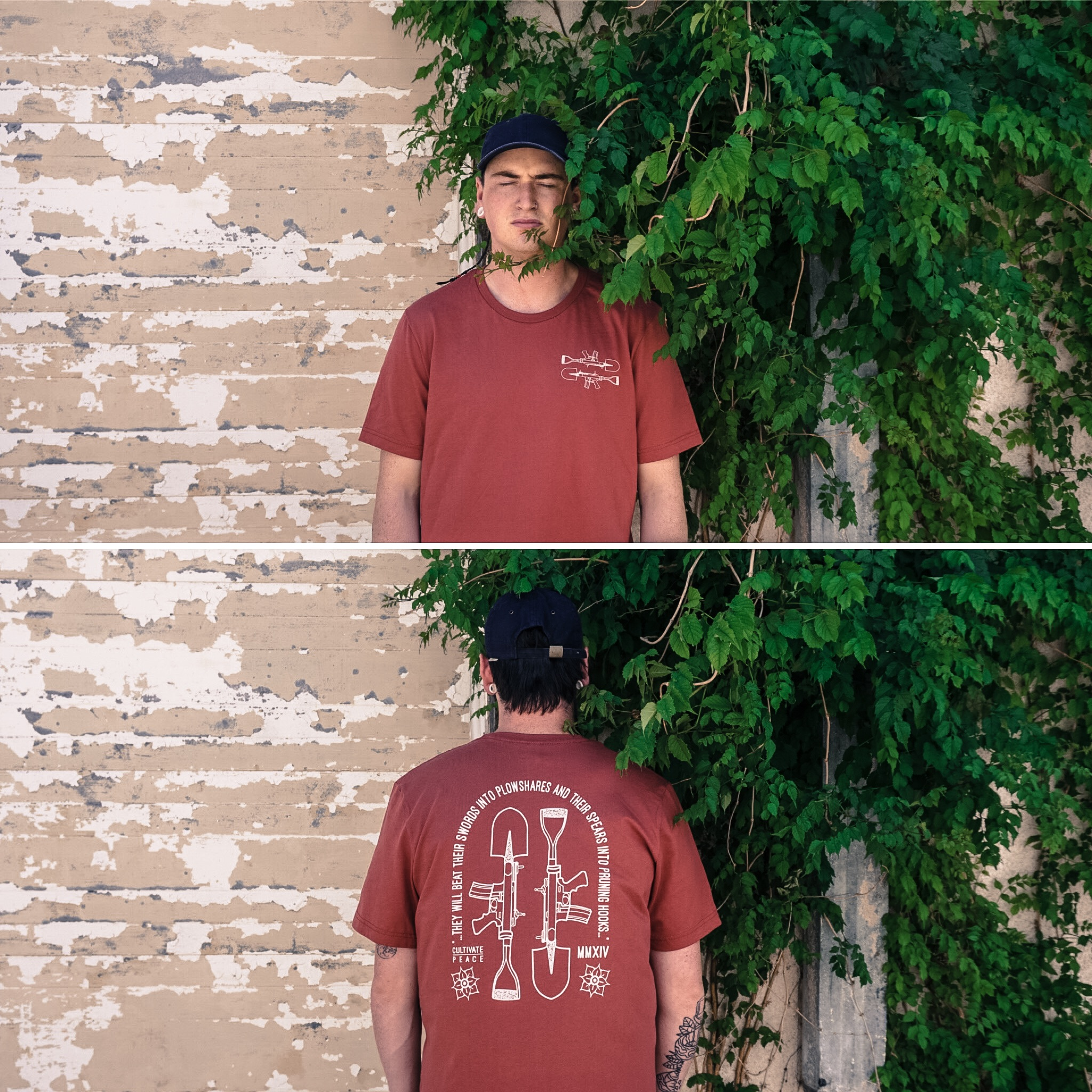 Eric (one of our printers) models the Cultivate Peace shirt in our alley.