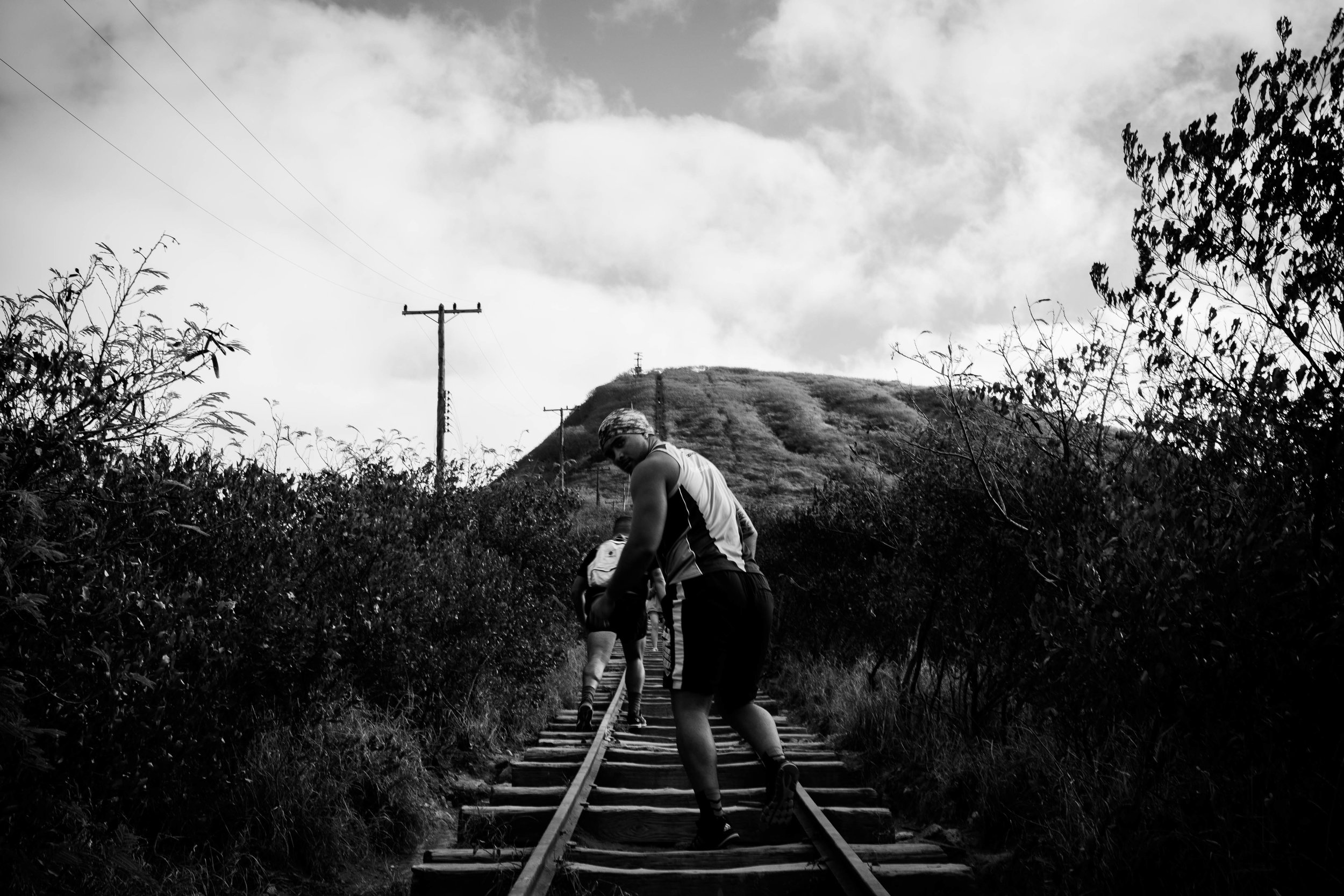 You don't just end up at the top of the mountain. You climb, one foot in front of the other and the other.. Next thing you know, you've made it to the top. Koko Crater track, Oahu.