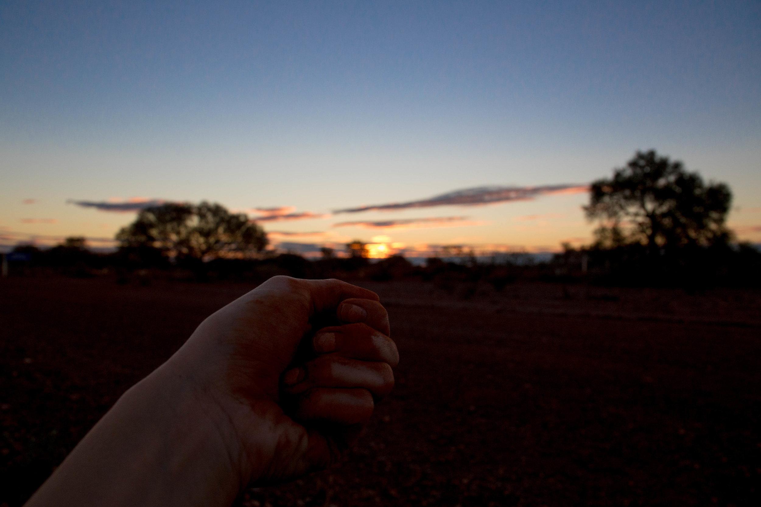 Holding onto Papatuanuku in DeGrussa, Western Australia, 2017.