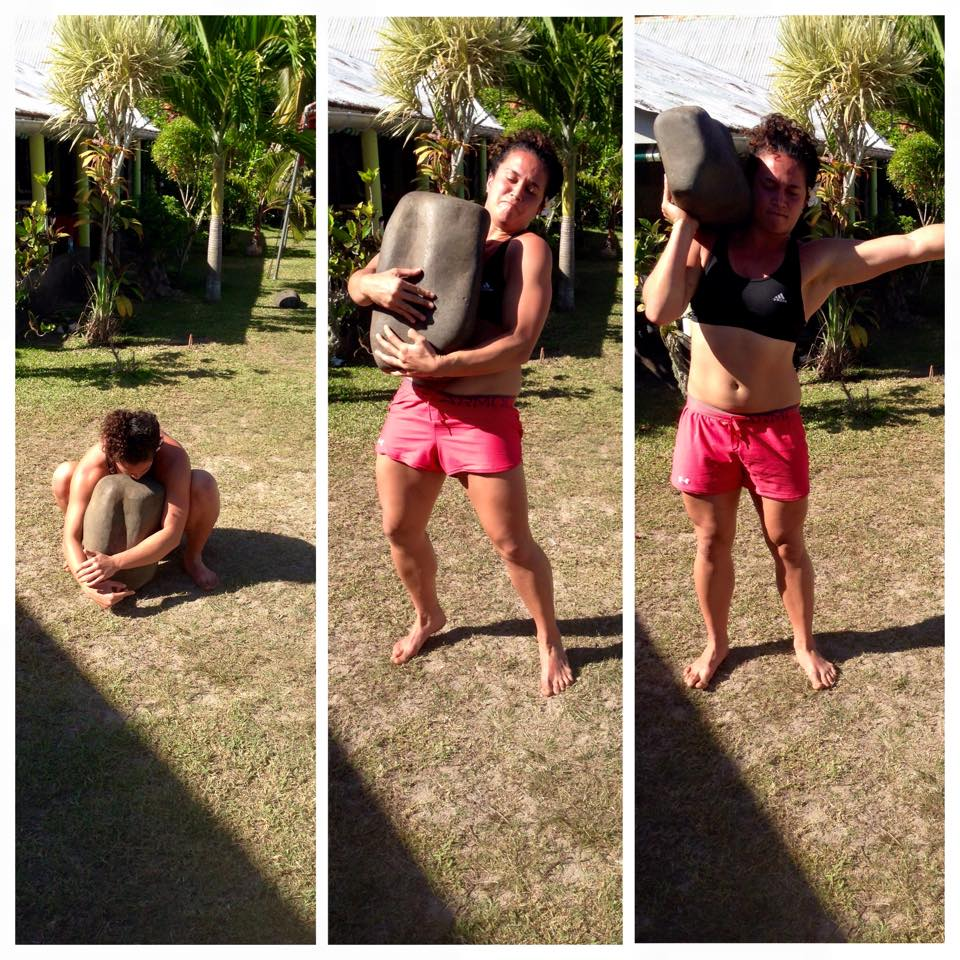 """The 'burn' we love, is whakapapa in action;the battle between Tūmatauenga and Tāwhirimātea; the active muscles (Tū) in need of oxygen (Tāwhiri).""  Amora'a ofa'ai (traditional rock lifting) in preparation for the Heiva Ancestral Games, nā Josh Te Kowhai, Tahiti, 2015"