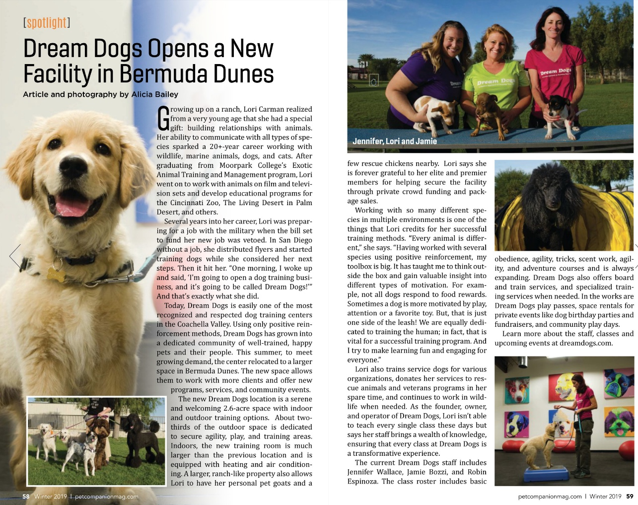 Winter 2019 Pet Companion Magazine - our new facility in Bermuda Dunes.   Read the entire article here…