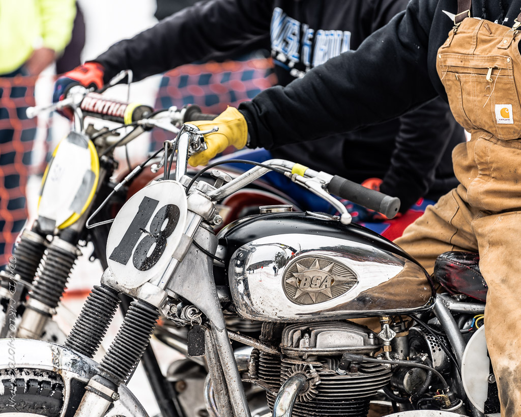 Nice shot of the beeza in the pits. Right before racing vintage heavy-got her going then randomly shut off half way up the hill. Got to love British Twins.