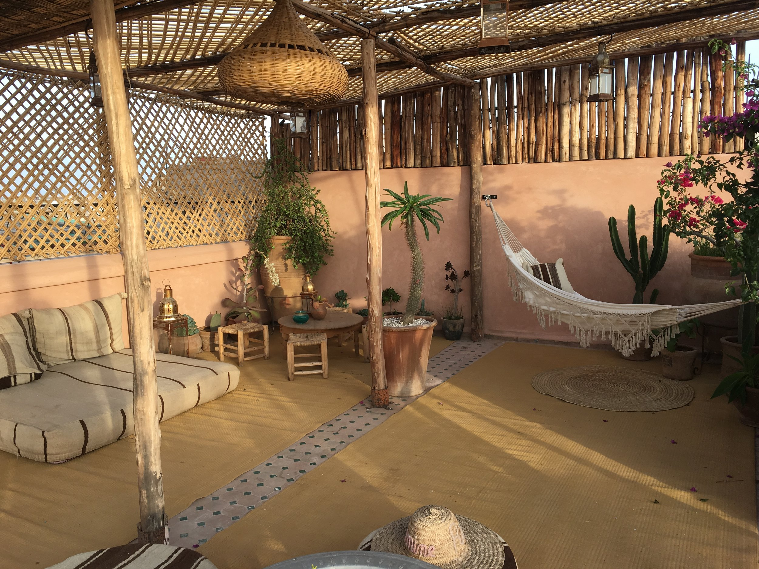 The beautiful roof terrace at Le Riad Yasmine.