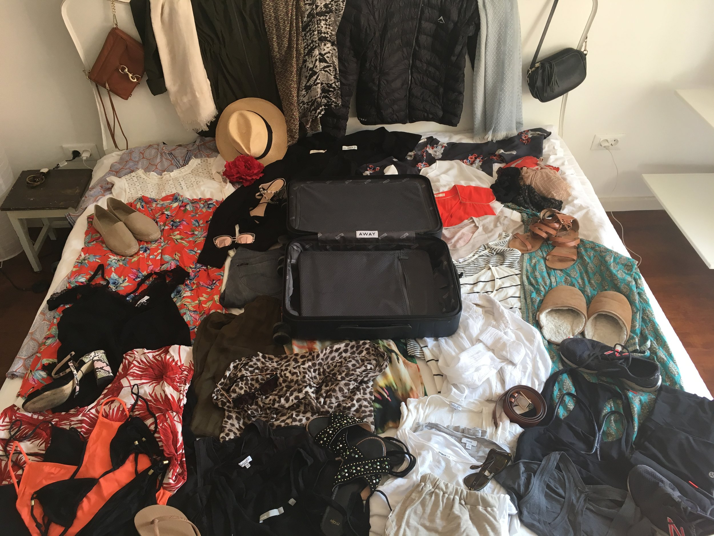 Can you believe all of this fits into a carry on?  Clothes on one side and shoes/accessories on the other.  Some things have been given away or sent home since I took this picture...and replaced with new treasures from our new destinations.