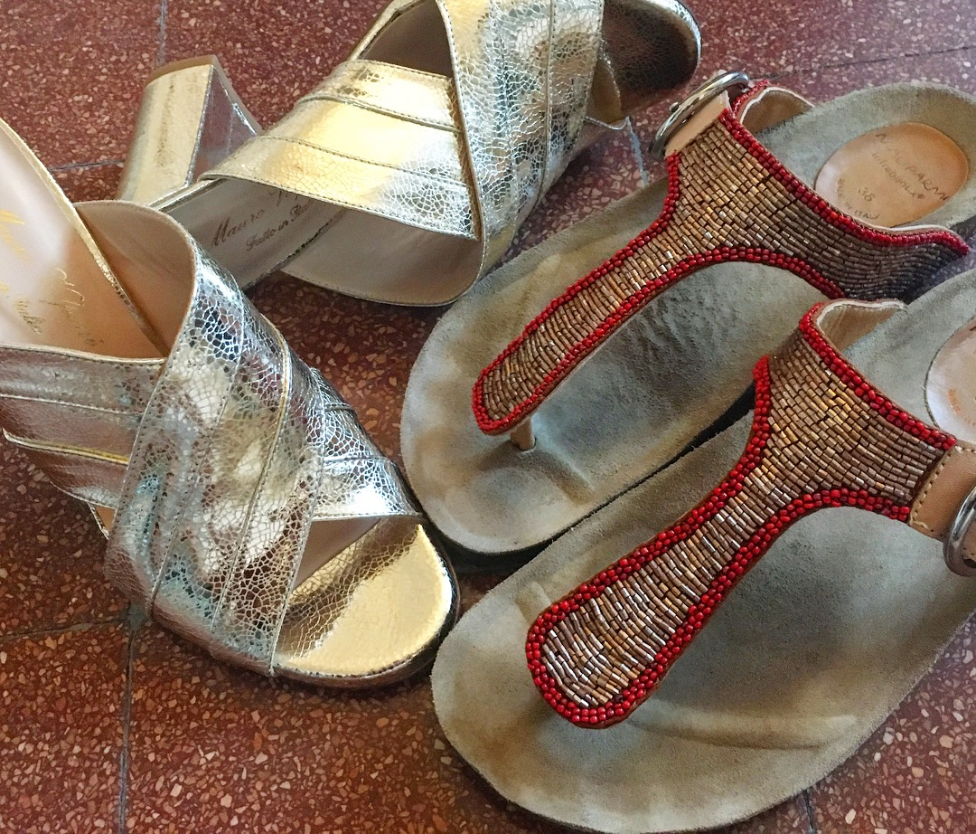 I'm totally obsessed with Maliparmi jeweled Birkenstocks...and can't wait to rock the gold heels from Mauro Volponi when I get home!