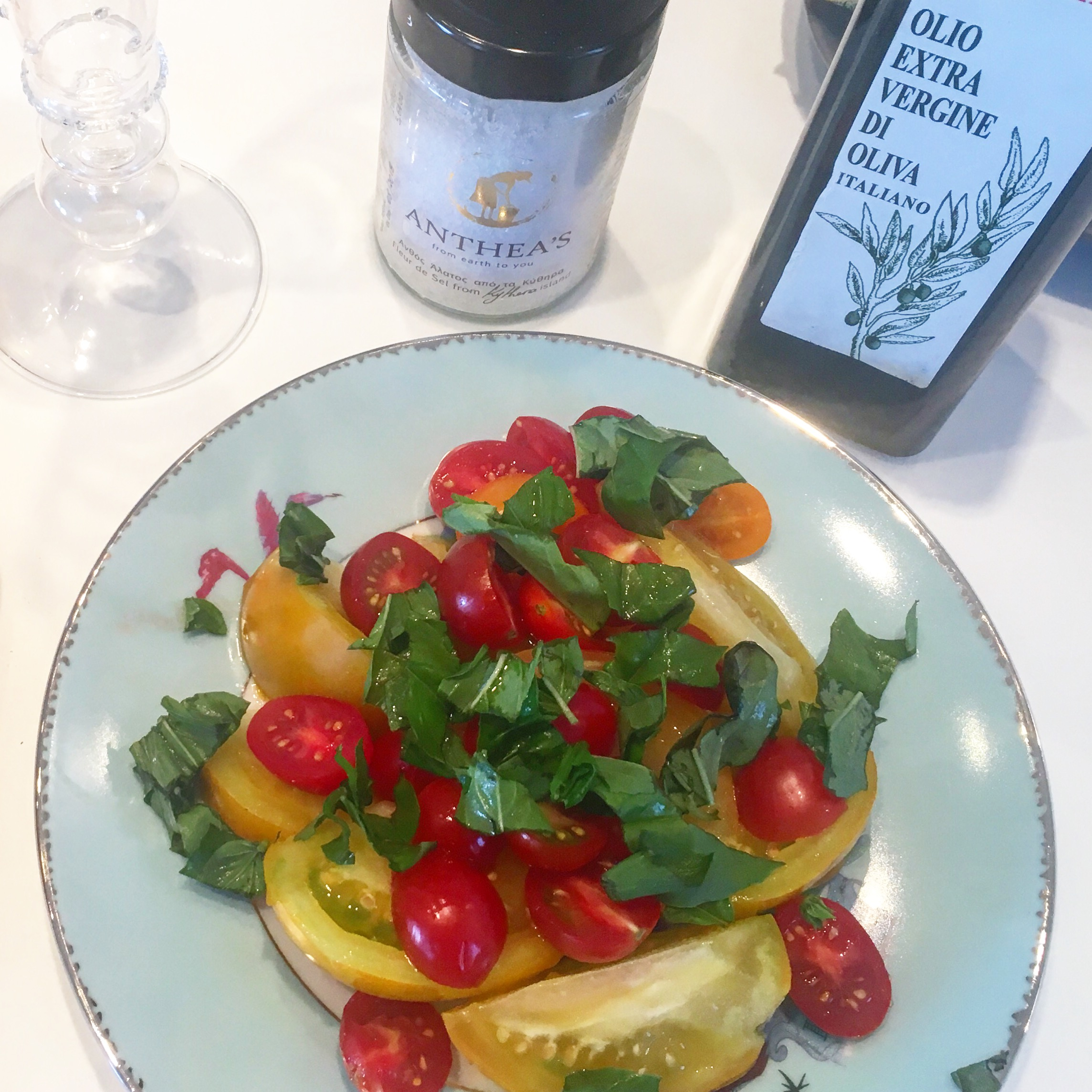 I love being able to make this Italian tomato salad with my Greek olive oil and salt.