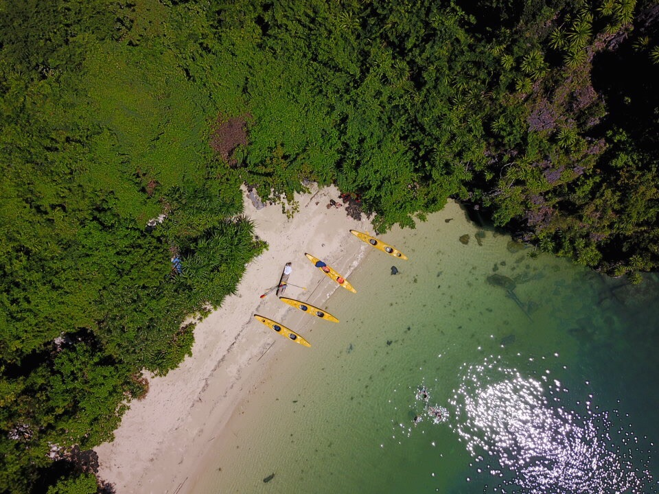 Sheila the Drone shot of our beached kayaks