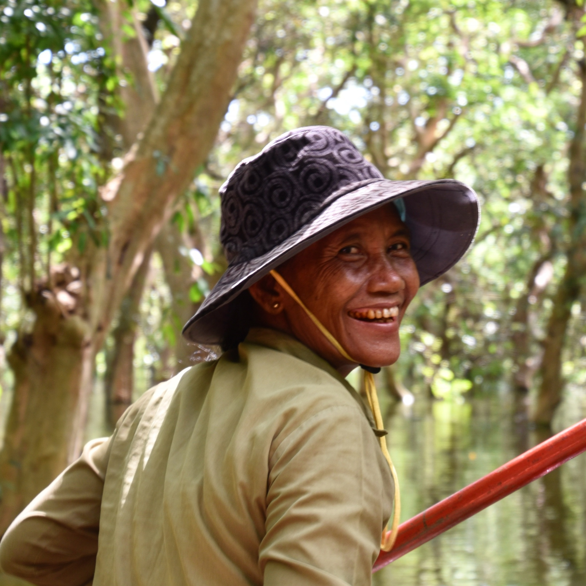 our canoe captain thru the floating forest