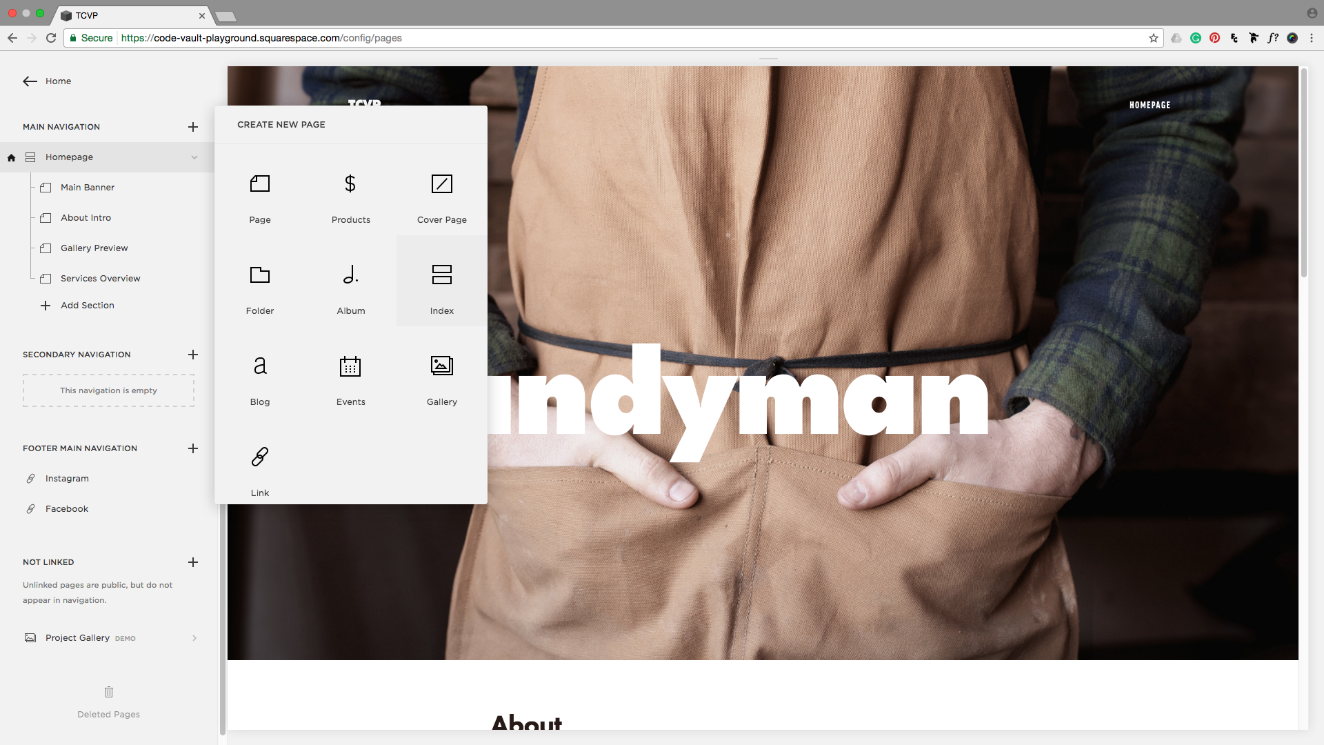 Creating an index in a Squarespace site.