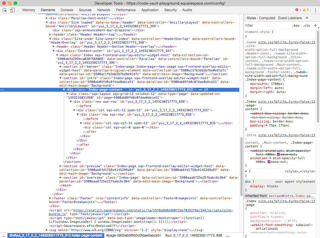 Inspect element window showing the name of the class of the index section.