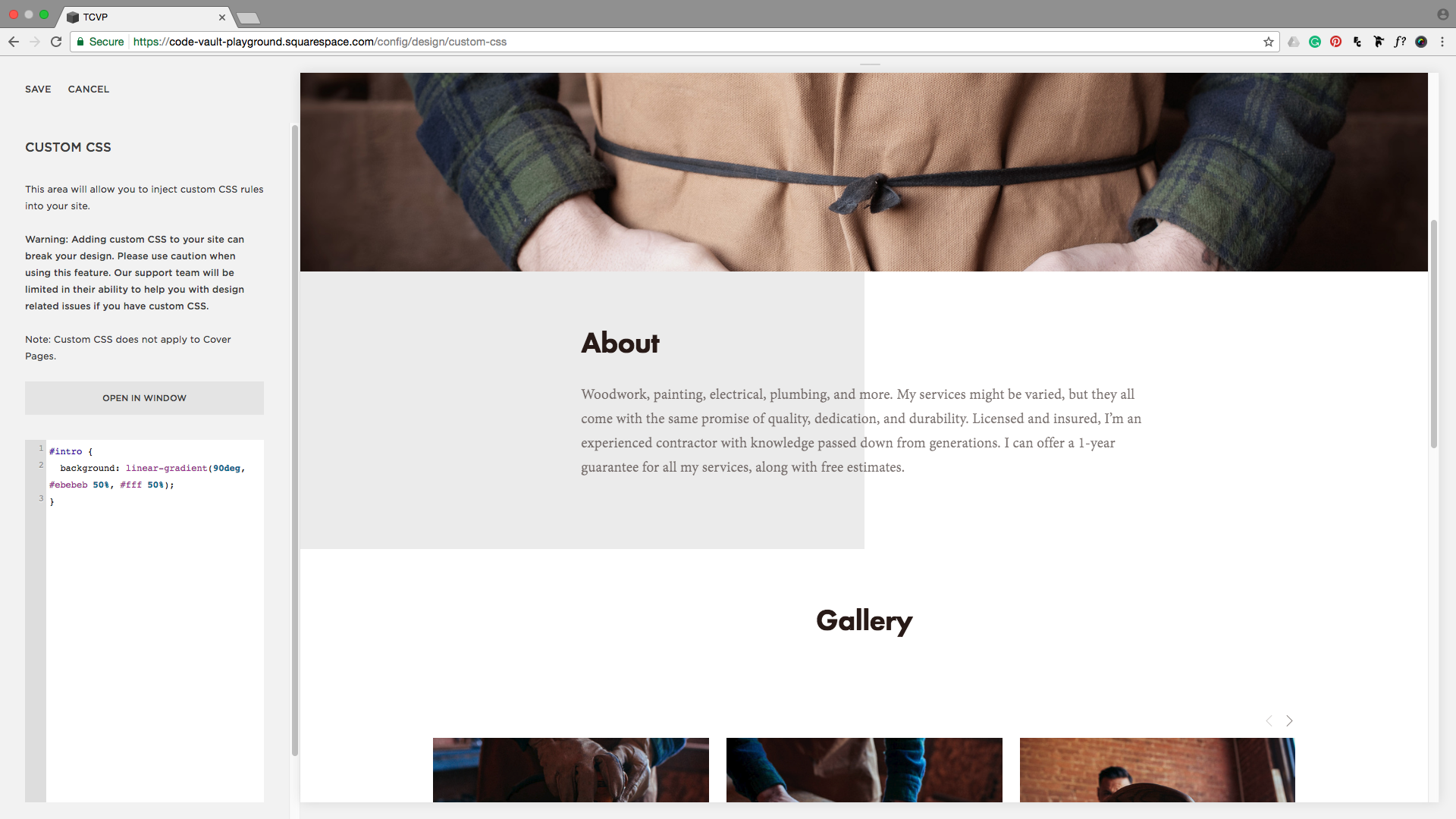 Adding the background property to the CSS injection window in Squarespace.