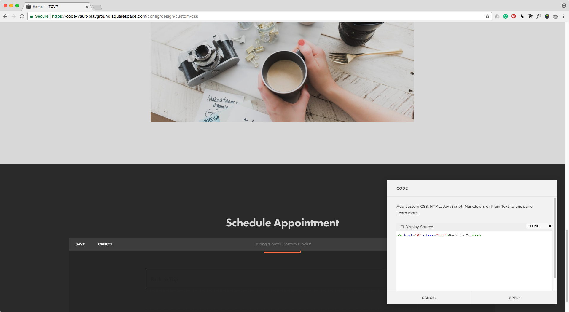 Adding a back to top link to a code block in Squarespace