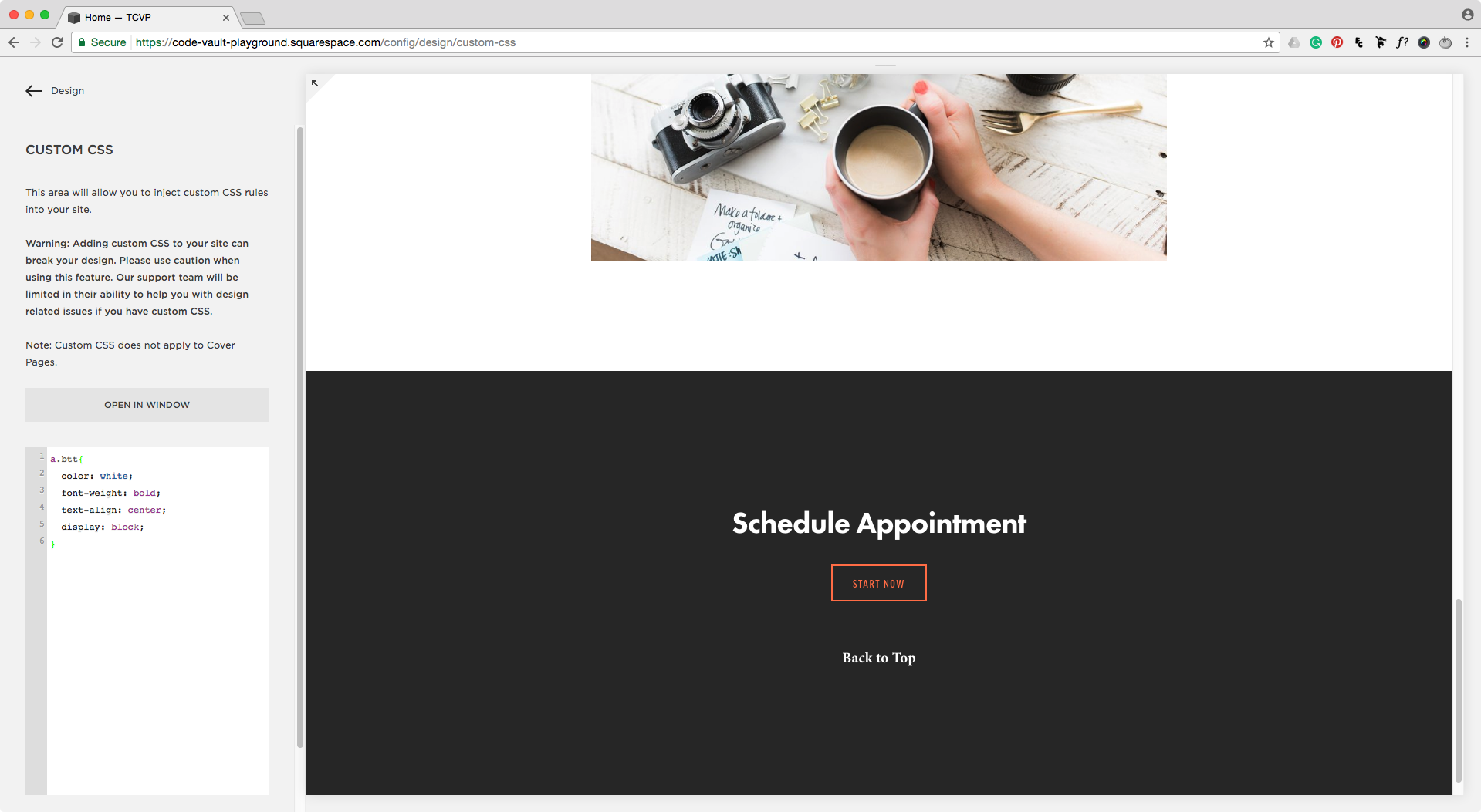 Styling back to top link with CSS