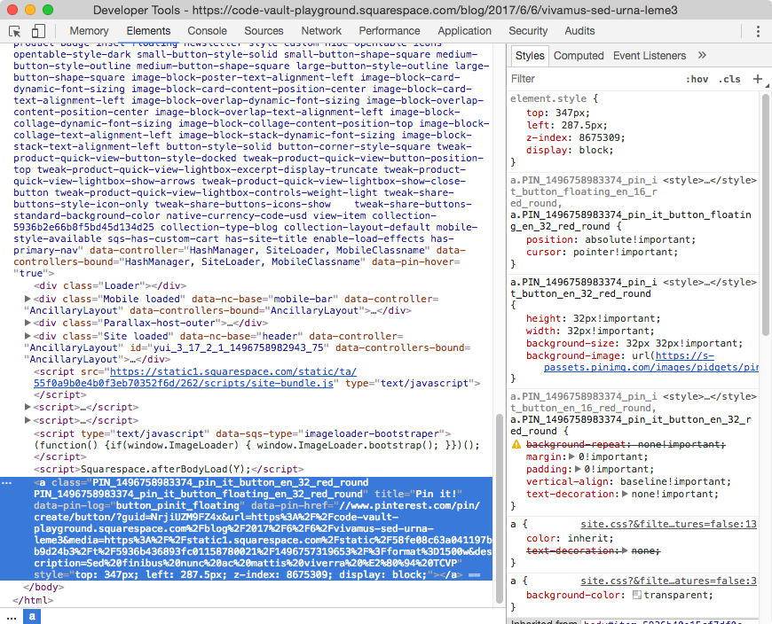 Finding the pin it button HTML element in Squarespace.
