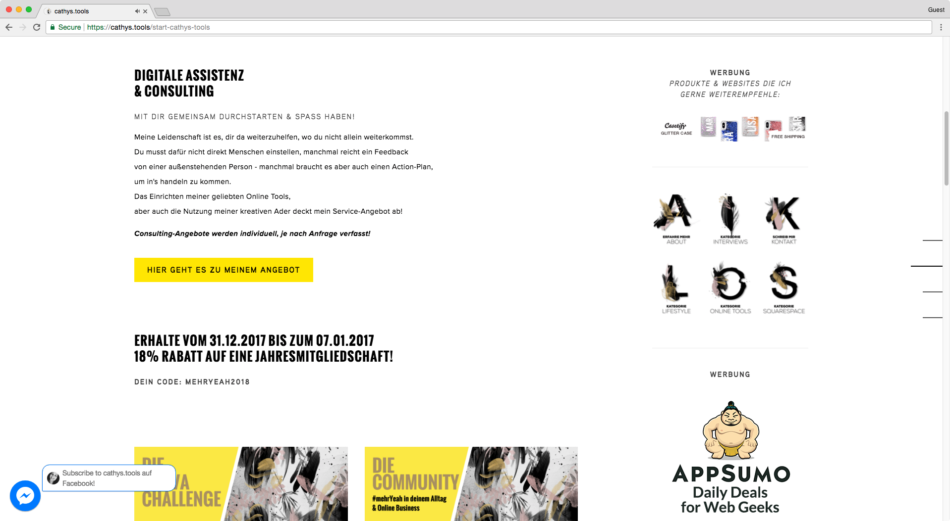Great example of a fake sidebar in Squarespace that works