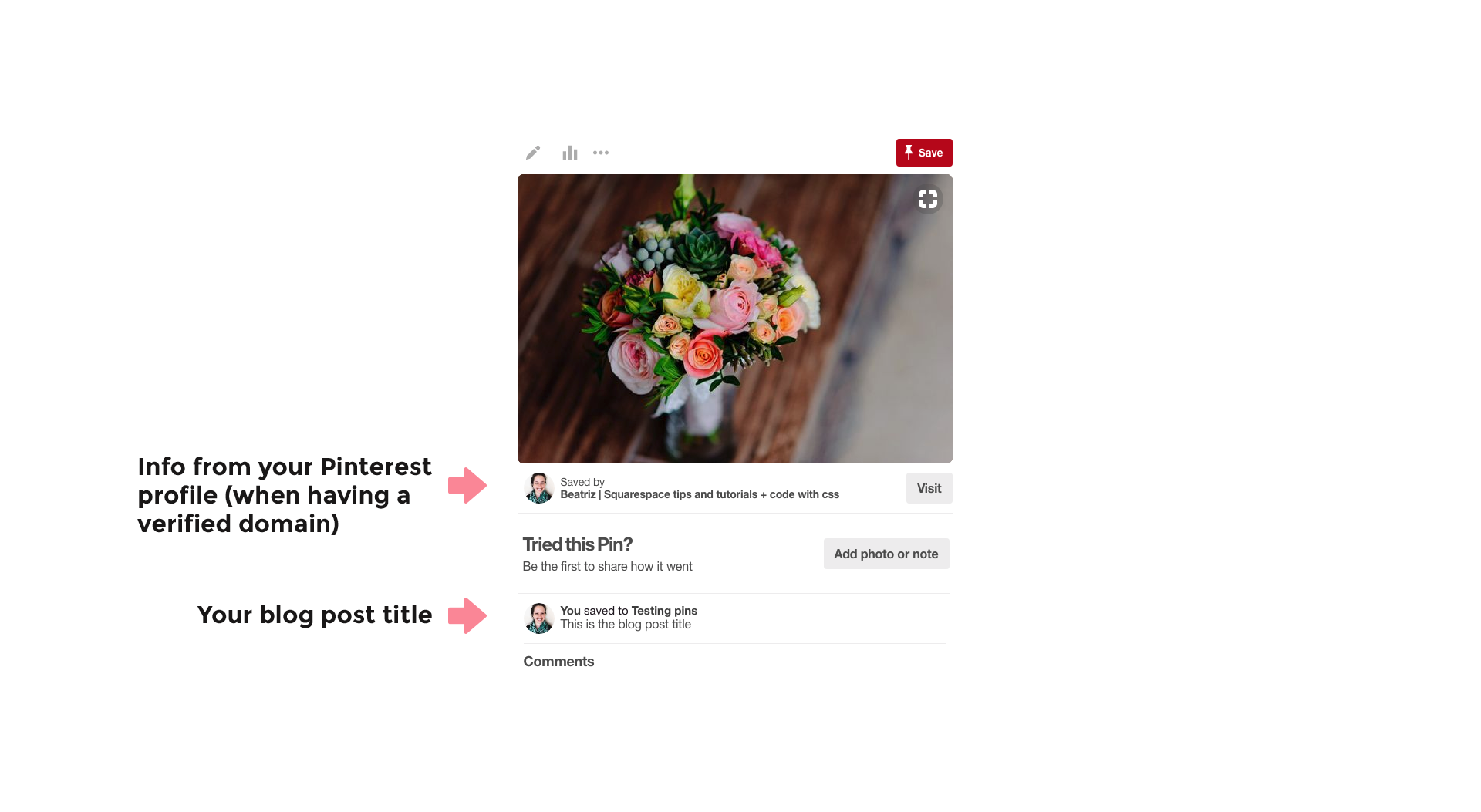 What a Pinterest pin without rich pins looks like when pinned from the main page