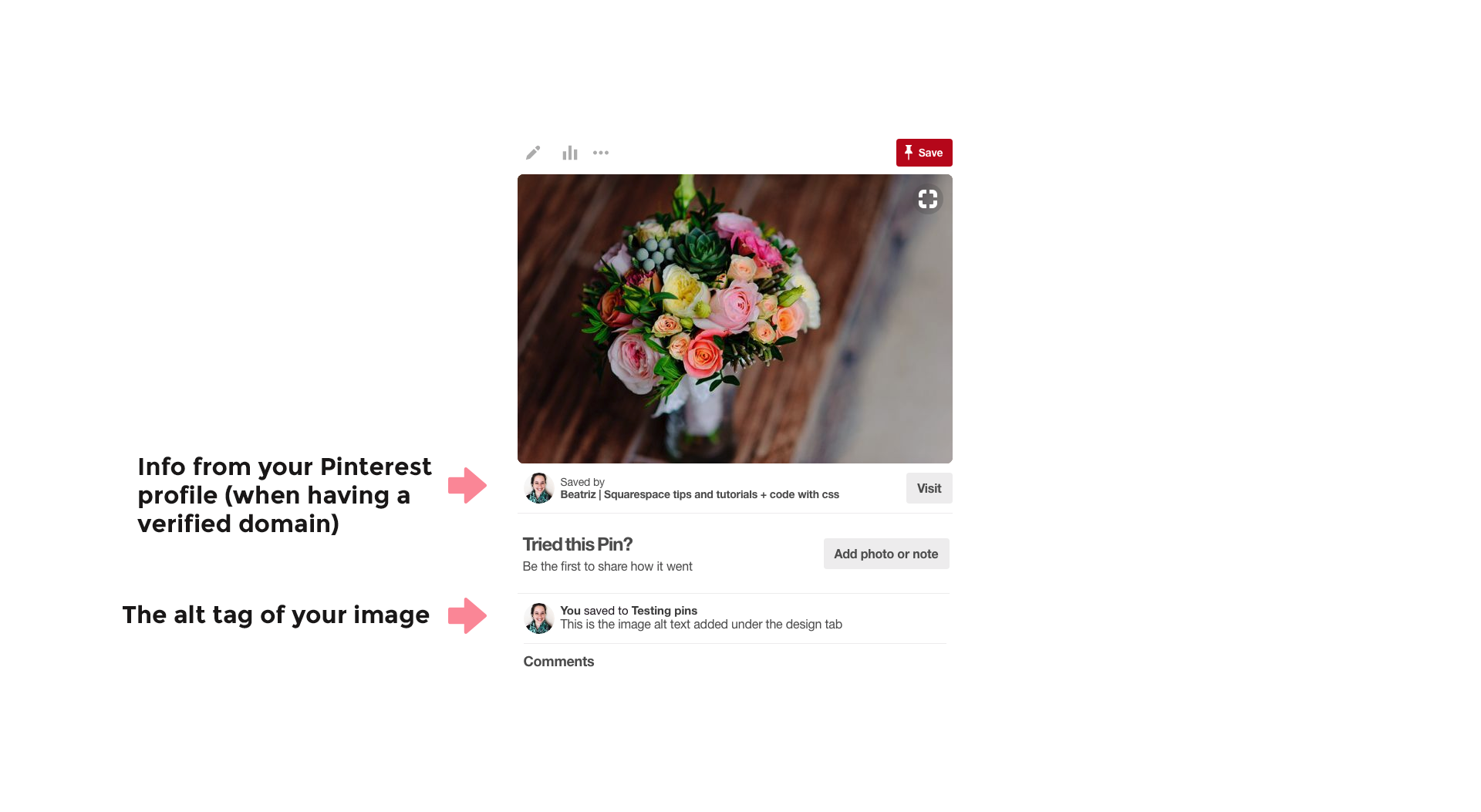 What a Pinterest pin looks like without rich pins when pinned from Squarespace