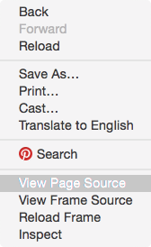 View page source option in Chrome