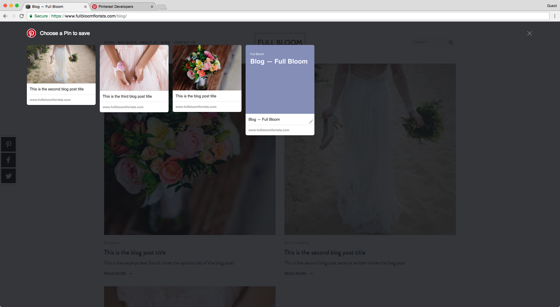 Using a third party app or extension for Pinterest in your website