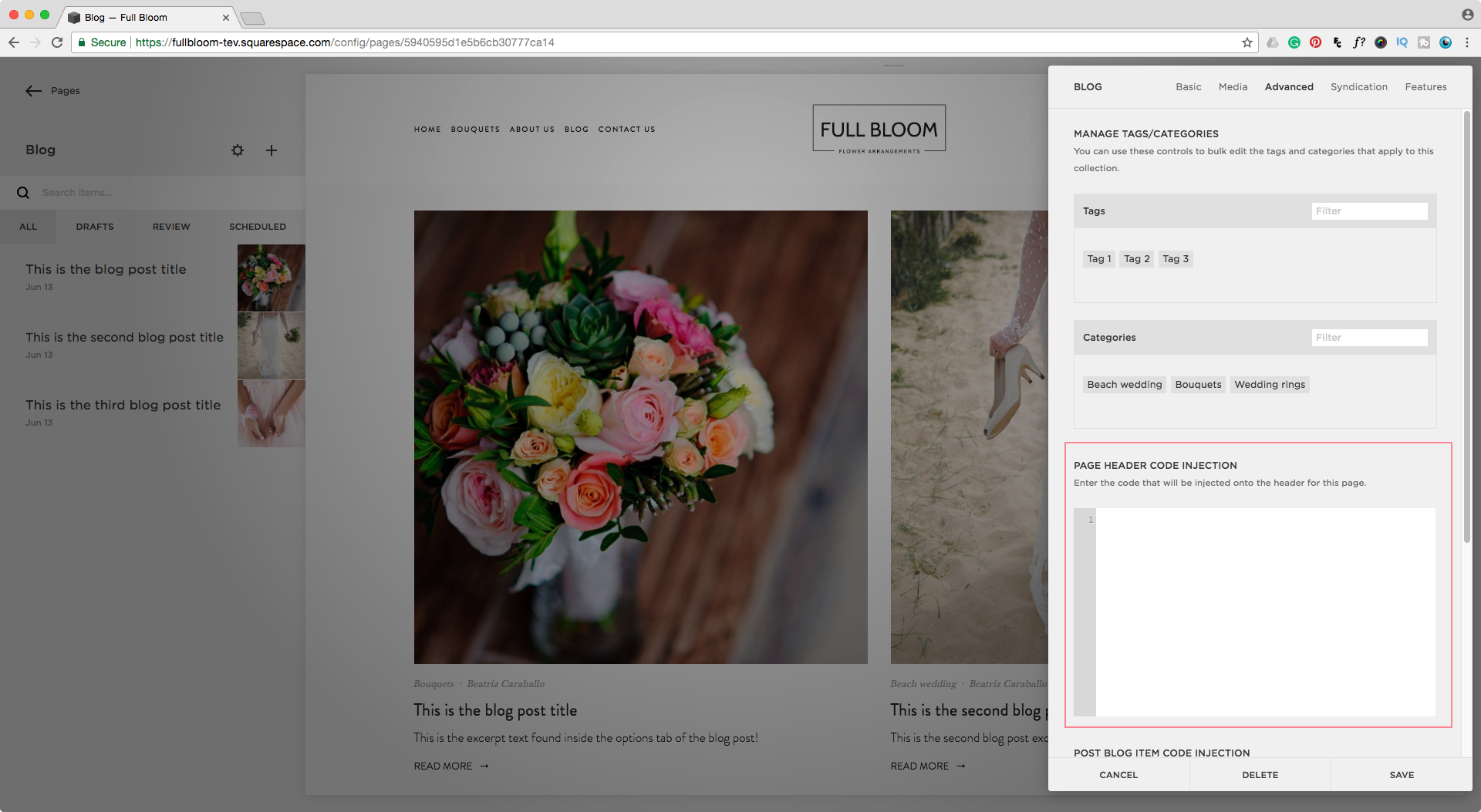 Adding code inside the blog page header in Squarespace