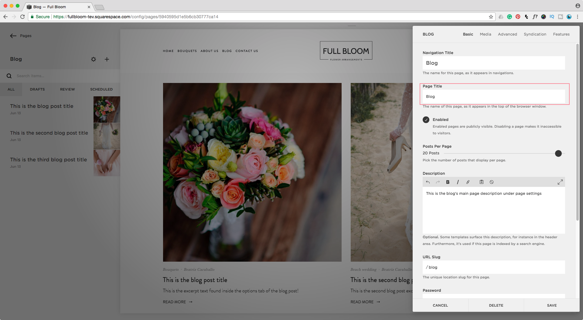 Changing the page title of a blog page in Squarespace