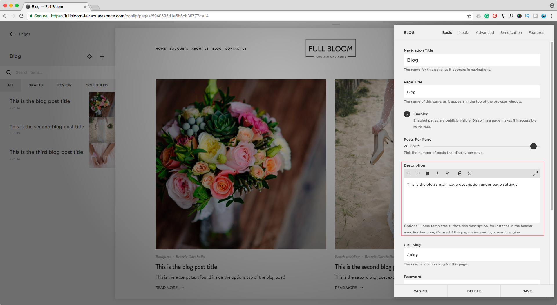 Editing the page description of a blog page in Squarespace