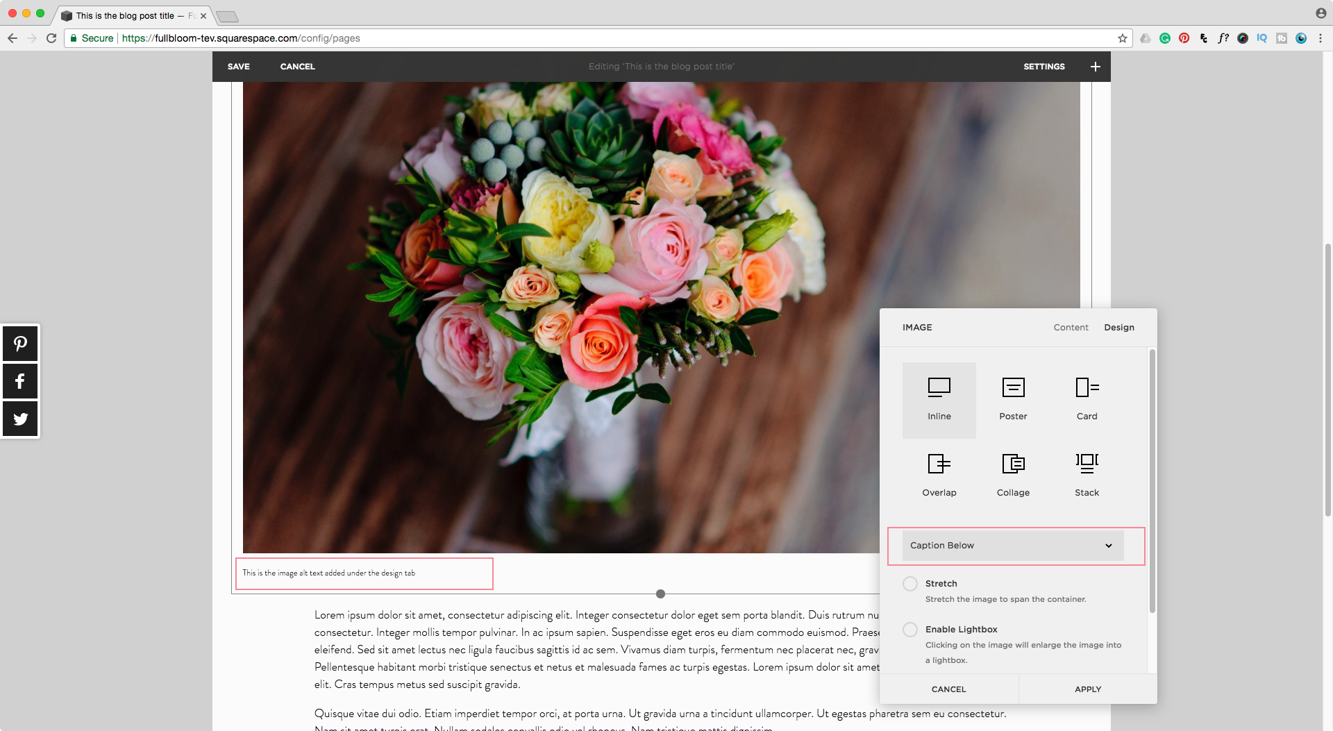 Adding alt text to an image block in Squarespace for SEO and Rich Pins purposes
