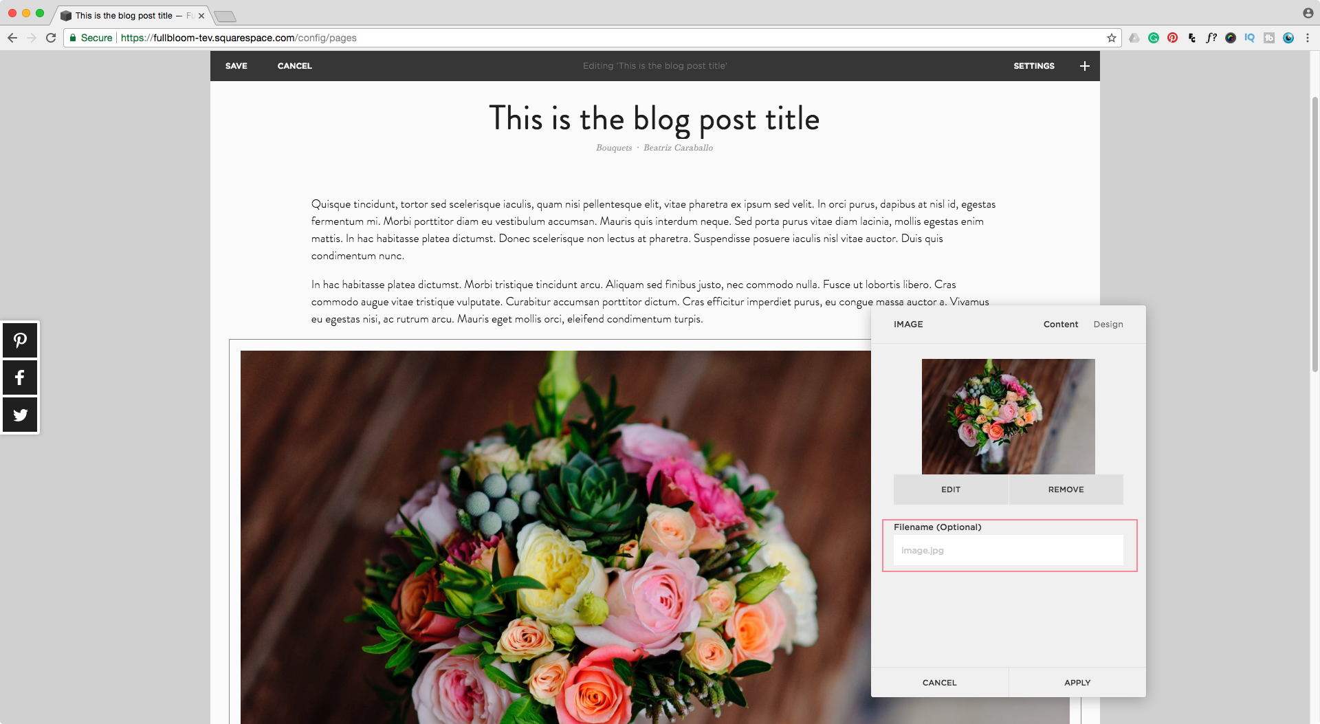 Adding an optional image filename in Squarespace