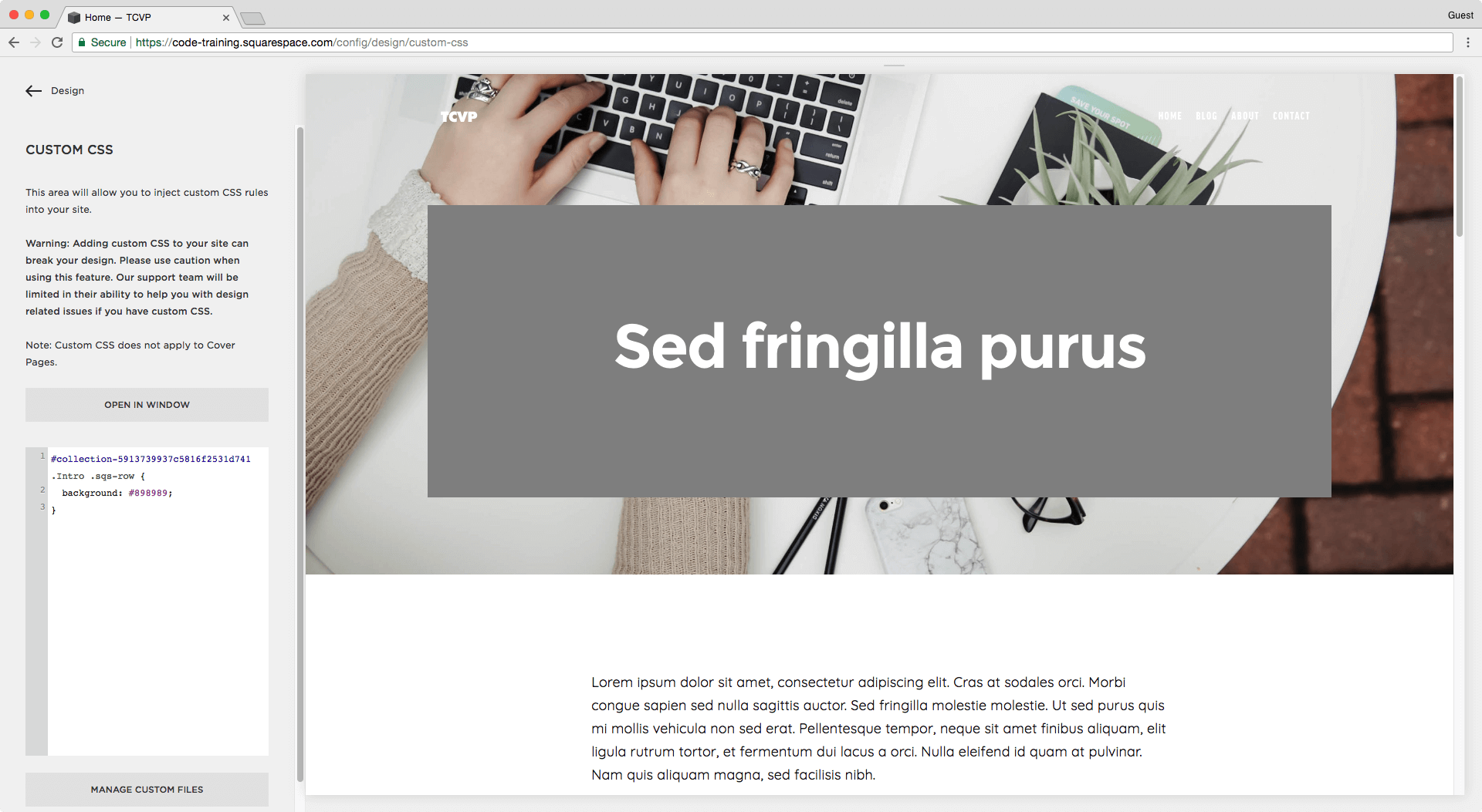 Adding a background color to a title on a regular page banner in Squarespace