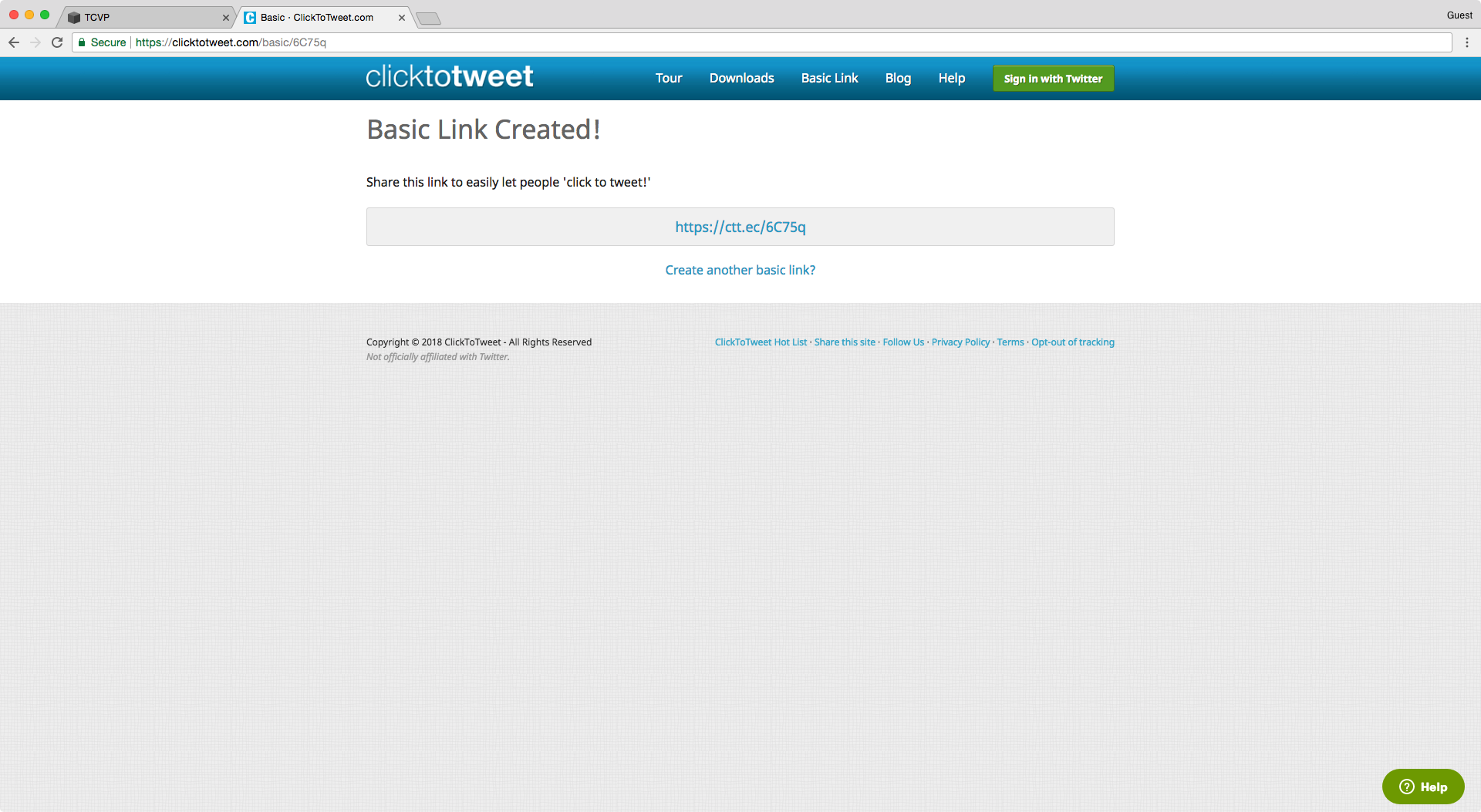 Basic link created for a click to tweet in Squarespace