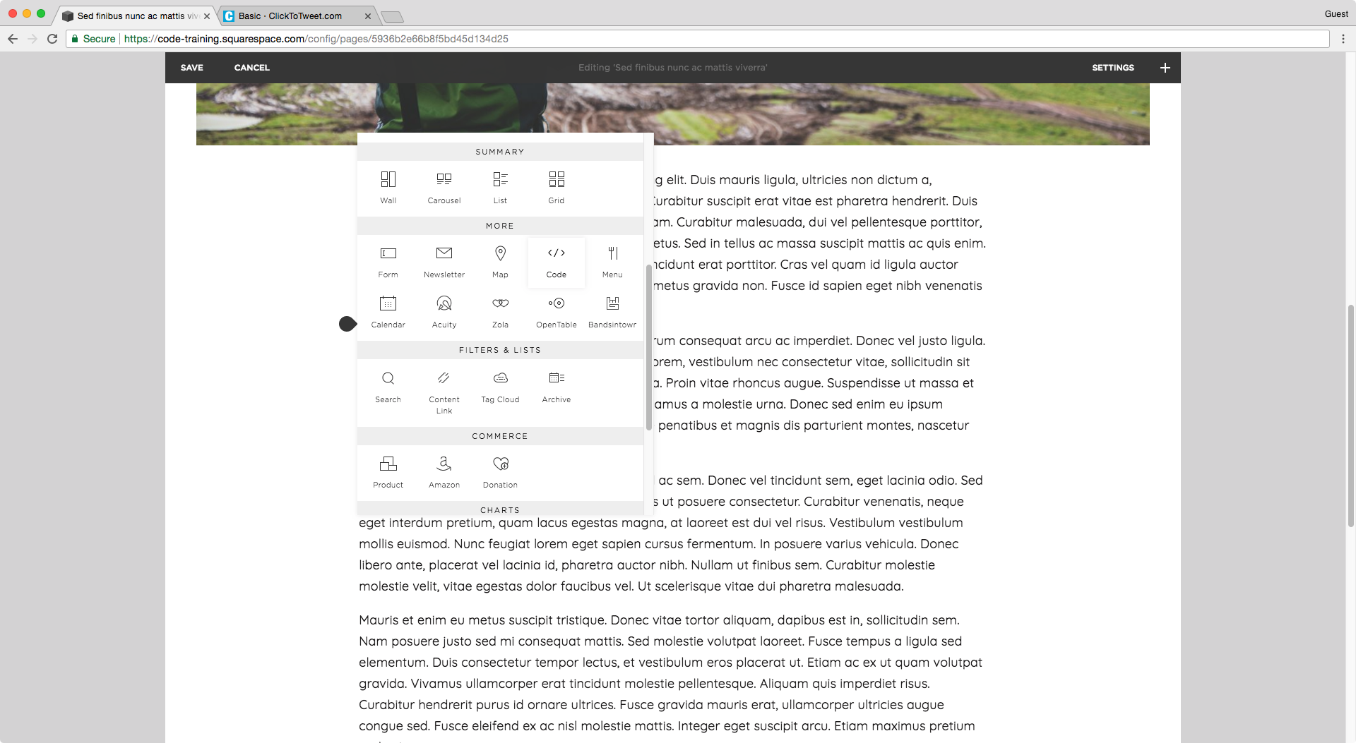 Adding a code block to a blog post in Squarespace